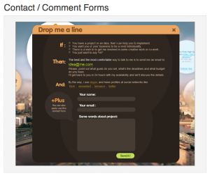 Modal Window Comment Contact Form