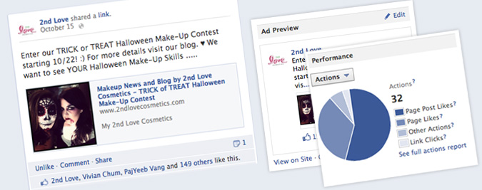 2nd Love Cosmetics Facebook Promoted Ads