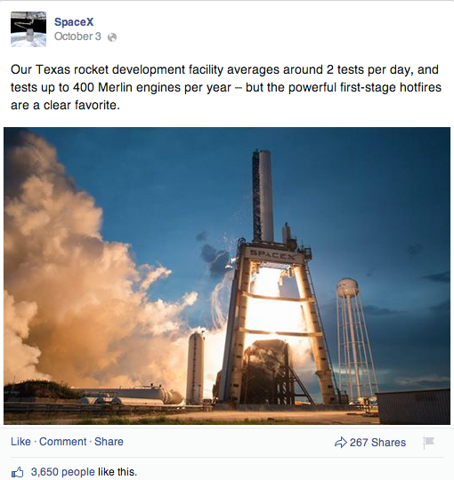 Space Launch SpaceX Facebook