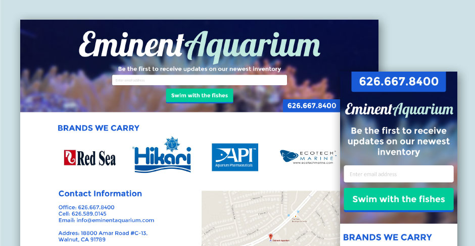 eminent aquarium website design