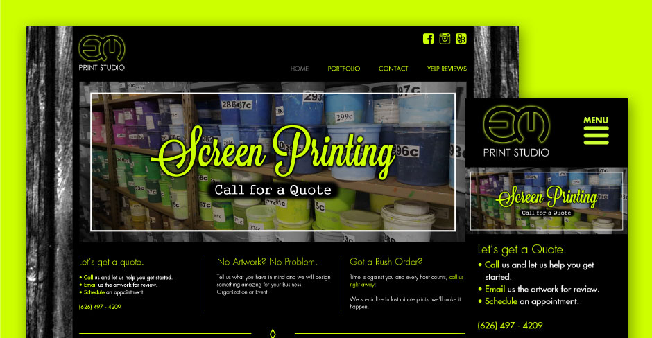 Em Print Studio Responsive Website Design