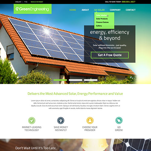 GESC Green Engineering Solar Corp Website Design