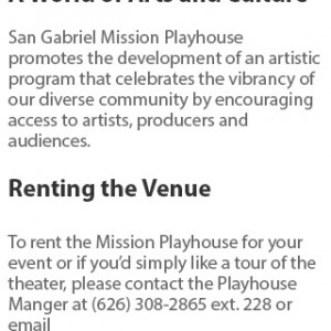 san gabriel mission playhouse website design
