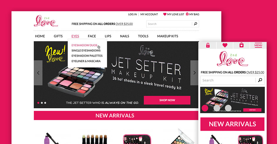 2nd Love Cosmetics Website Design